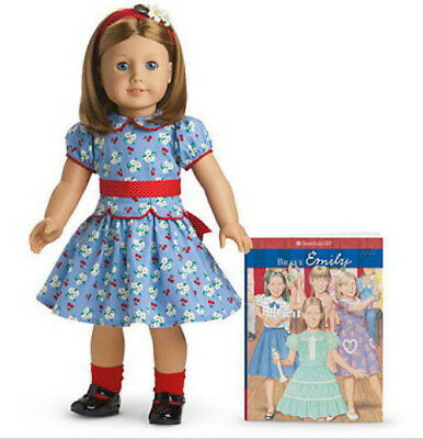 American Girl Doll Emily - NIB(retired) + Paperback Book + Emily's Holiday Dress