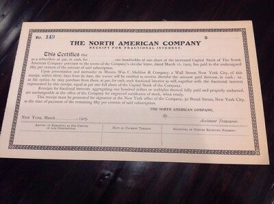 The North American Co. 1905 Stock Certificate Man Cave Unissued
