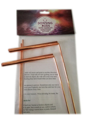 Pair Of Large Copper Dowsing Rods With Instructions - Wicca Water Divining Ghost
