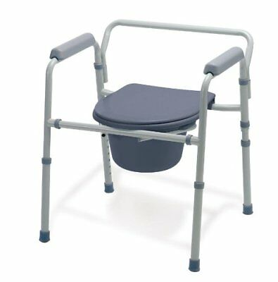 Deluxe Bedside Commode Chair Toilet Seat Safety Rails Shower Elderly Senior Home