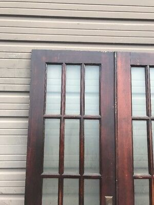 An 447 Match Pair Antique Flat Glass French Doors Pine 51.75 X 79.75 X 1 3/8""