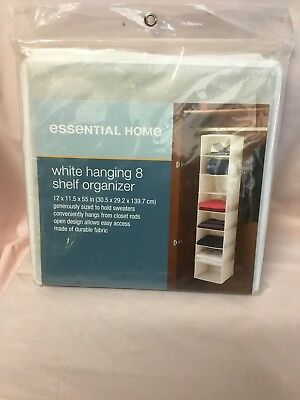 NEW (Still in the package) Essential Home  White hanging 8 Shelf Organizer