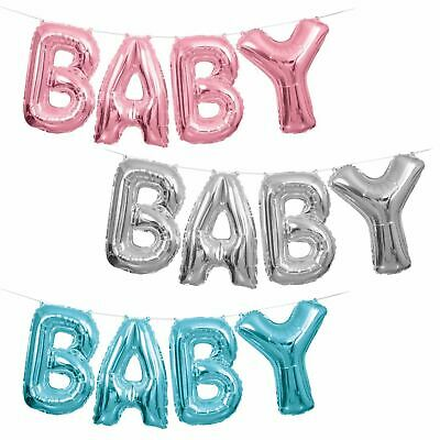 "Baby Shower Balloons 14"" Banner Foil Party Decorations Blue Pink Boy Girl Air"
