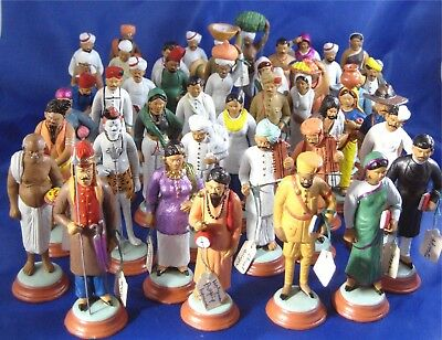 Collection of 44 Vintage Lucknow Terra Cotta Clay Figurines India Poonah
