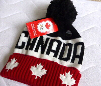 80c18d1b5aa 2018 Adult TEAM CANADA WINTER OLYMPICS Maple Leaf OFFICIAL BOBBLE HAT Beanie