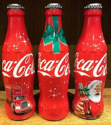Set of 3 Coca-Cola glass bottles Christmas 2015 Belgium