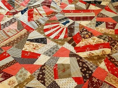 ANTIQUE MAINE CRAZY QUILT Calico 1880's -1900 Handmade Newly Re-Backed 68 x 79