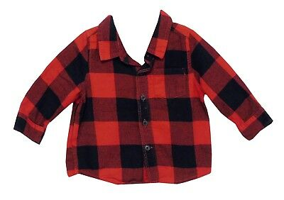 Baby Boys Gap Red Black Check Long Sleeve Thick Cotton Shirt Age 6-12 Months