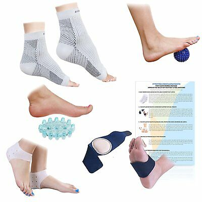 Fittest Pro Plantar Fasciitis Foot Compression Sleeve Massage Package, Pack of 8