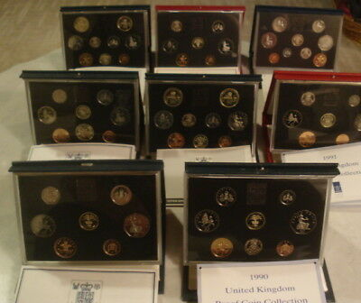 U.k. Proof Coin Collection (Royal Mint) 8 Sets/ 1985-86-87-89-89-90-91 & 1992