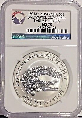 2014 P MS70 Early Releases Australia Saltwater Crocodile 1oz Silver Coin NGC UNC