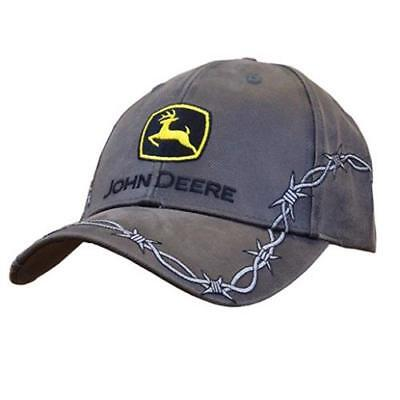 John Deere Mens Charcoal Grey Cap With Silver Barbed Wire Details 13080335