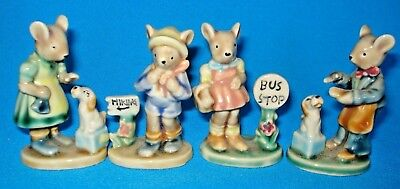 Vintage Small Art Glazed Porcelain Ceramic Mice Figurines Lot Of 4