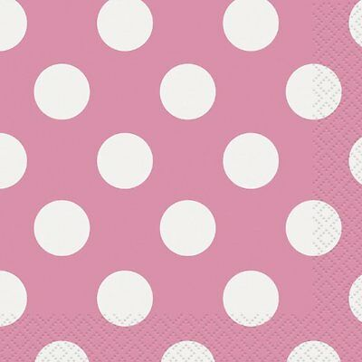 2 Pkgs. PAPER BEVERAGE NAPKINS ~ DOTS ~ NEW PINK ~ Made In USA  SALE!