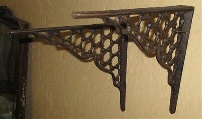 2 Elegant Eastlake Rustic Cast Iron Shelf Brackets Art Deco Ornate Clock Wall k