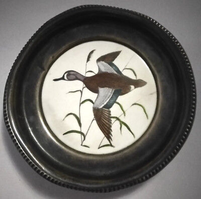 Frank M Whiting Coaster Sterling Silver w/Ceramic Duck Blue Wing Teal Vintage