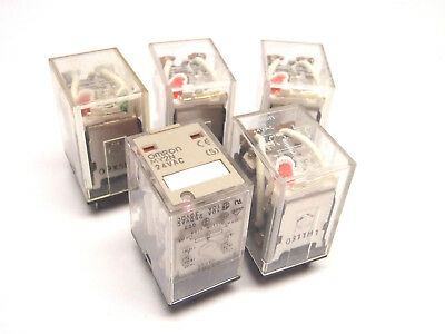 Lot of (5) Omron Ly2N 24VAC Plug In Relay