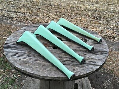 4 Jadeite Green Porcelain Cast Iron Stove Table Legs Industrial Age Cabinet