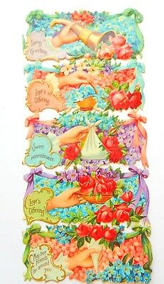 Antique Attached Sheet of 5 Scrap Die Cuts Loves Offering Greetings Remembrance