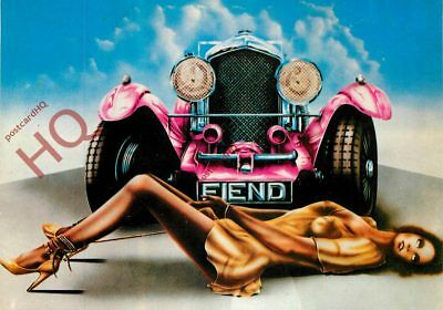Picture Postcard: VINTAGE CAR AND LADY, 'FIEND'
