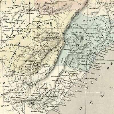 South Africa Natal Boer Republic Transvaal Orange 1855 Dufour uncommon old map