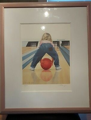 Patricia Bourque signed and numbered print THE BIG CHALLENGE little girl bowling