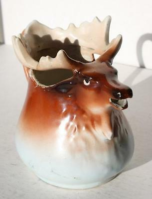 Moose Elk Reindeer Figurine Creamer Pitcher Pottery Slovakia RARE-Awesome-LOOK