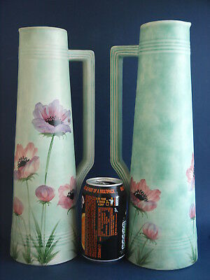 Pair of H J Wood Hand Decorated Art Deco Tall Jugs