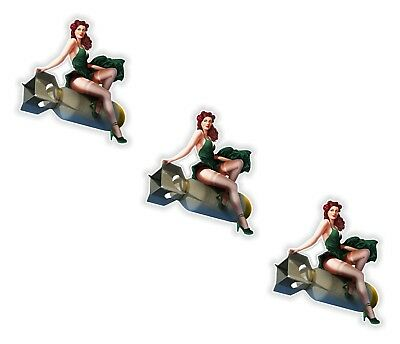 Pin Up Girl 3x Stickers Vintage Sexy #07 - 4.5x5cm  (1.7 x 2inches) US Army Bomb