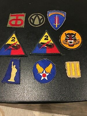9 WWII Army Patches Various Divisions