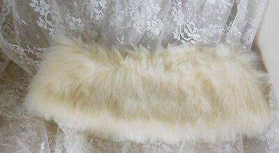 "Vintage Button-On Faux Fur Collar - 21"" at top, 25"" at bottom, 5"" wide w/loops"