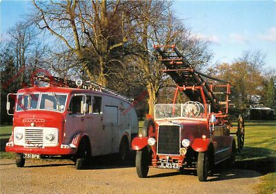 Postcard--FIRE ENGINES, LEYLAND AND COMMER TENDER, BRESSINGHAM STEAM MUSEUM