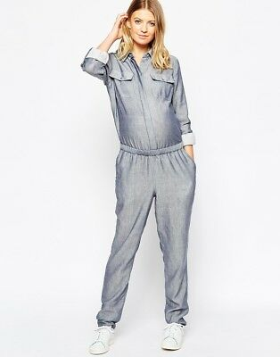 Gorgeous Blue Chambray Maternity Jumpsuit All In One Size 8