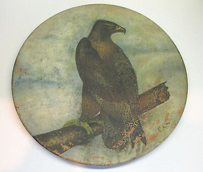 Antique American Painting on Redware Plaque Eagle signed C.A.H. Early 1900's!