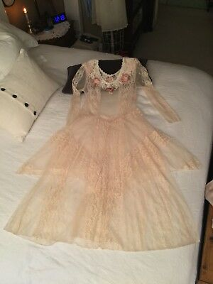 🌺 Vintage Susan Lanes Country Romantic Lace Dress / Victorian Inspired