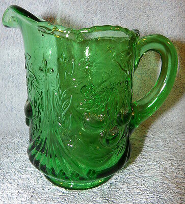 Green Glass Creamer-Cherry-by L.G. Wright circa: 1963