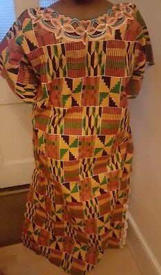 African dress brand new African Kente Print beautiful dress with Embroidery from