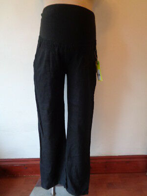 Bm Maternity Black Over Bump Straight Leg Linen Mix Trousers Size 12 Bnwt