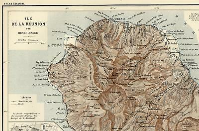 Reunion Island St. Denis city plan volcanoes c.1890 Bayle French colony map