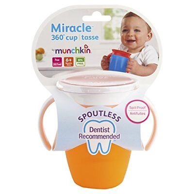 5 Pack Munchkin Miracle 360 Trainer Sippy Cup, Colors May Vary, 7 Oz Each