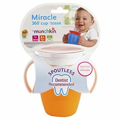 6 Pack Munchkin Miracle 360 Trainer Sippy Cup, Colors May Vary, 7 Oz Each
