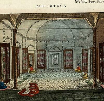Biblioteca library Islamic learning scholars Ottoman Empire c.1820 old print