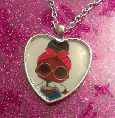 Silver Plated Heart Pendant Necklace LOL Doll Confetti Pop Angel