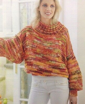 6a629d351b1013 Ladies Batwing Slouchy Jumper Sweater 4-ply KNITTING PATTERN - Sizes 8-18