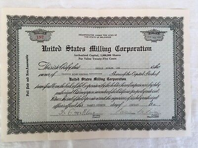 United States Milling Corporation Stock Certificate