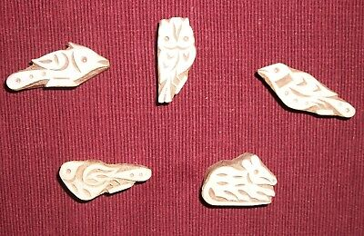 Lot of 5 Hand Carved Wood Birds-Fish-Animal