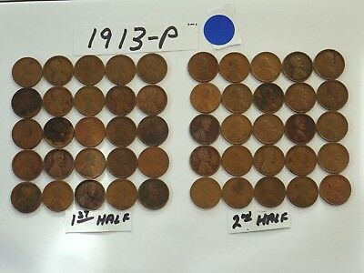 1913-P Solid Date Pennies=One Roll Of 50 Lincoln Wheat Cents