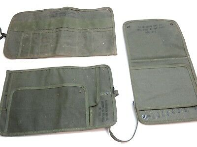 Lot Of 3 Vintage Korean War Era Us Army Canvas Tool Bags By Jacobson Dated 1953