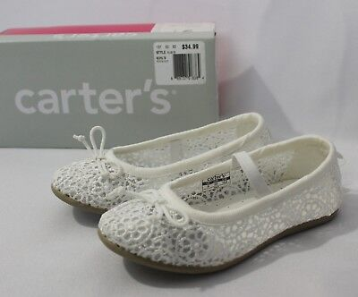 Carter's Ruby5 Toddler Sizes 5-11 Girls Ballet Flats White Shoes Lace Slip On