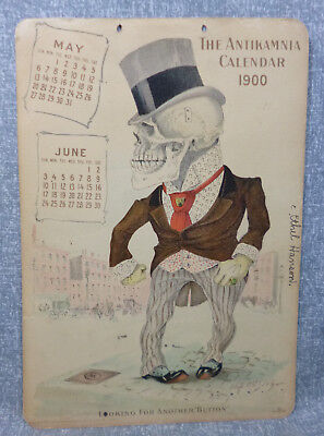 Antique AntiKamnia Lithograph Calendar Page May-June 1900